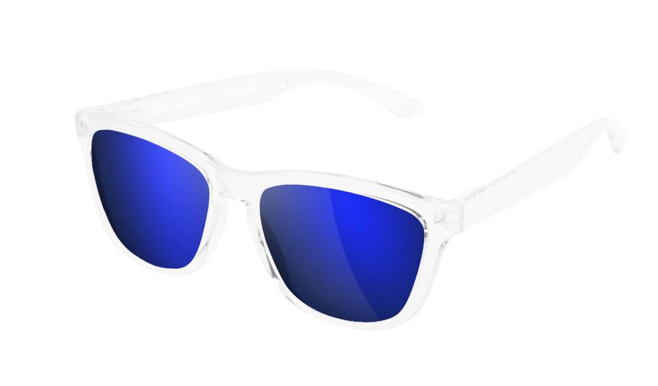 SLI03_Sensolatino Sunglasses Serie Italia Transparent WITH BLUE MIRRORED POLARIZED LENSES