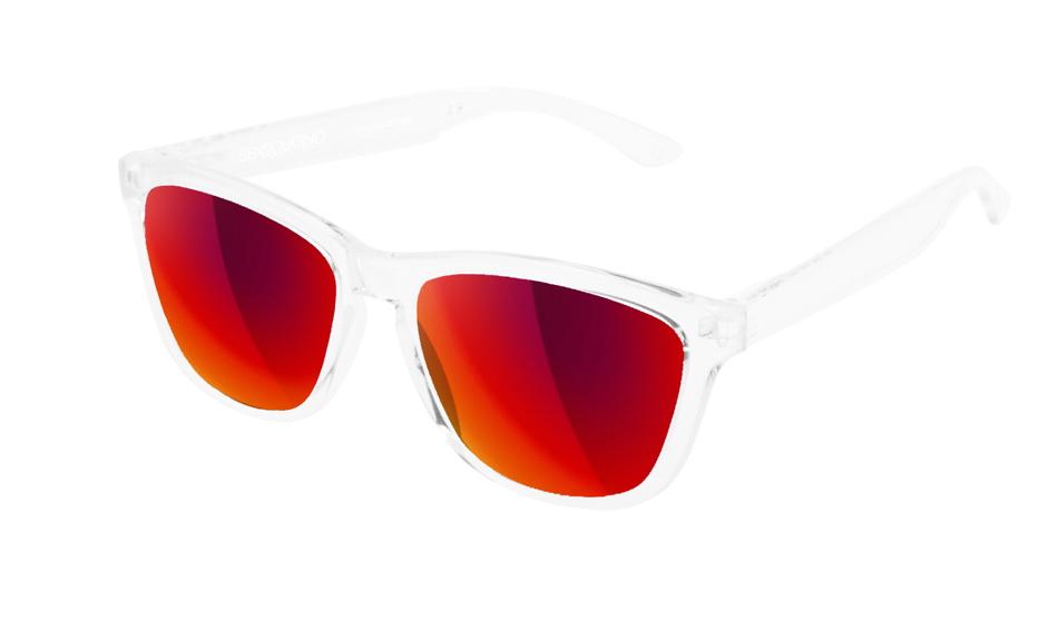 SLI05_Sensolatino Sunglasses Serie Italia Transparent WITH RED MIRRORED POLARIZED LENSES