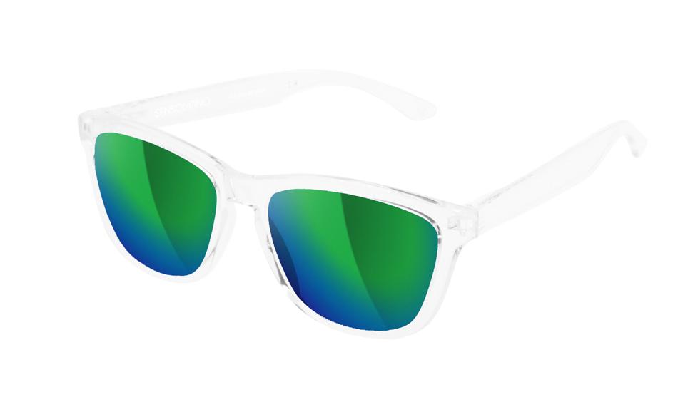 SLI09_Sensolatino Sunglasses Serie Italia Transparent WITH BLUE GREEN MIRRORED POLARIZED LENSES