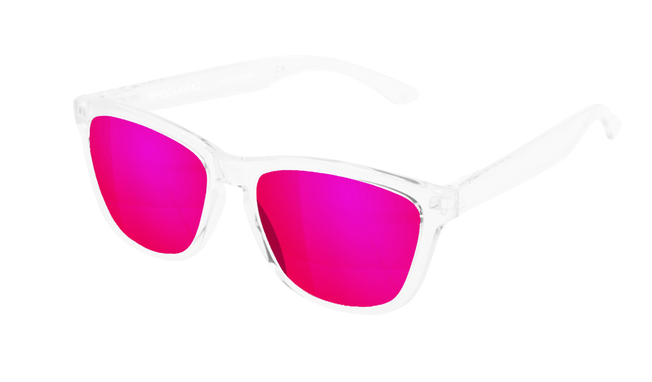 SLI11_Sensolatino Sunglasses Serie Italia Transparent WITH PINK MIRRORED POLARIZED LENSES