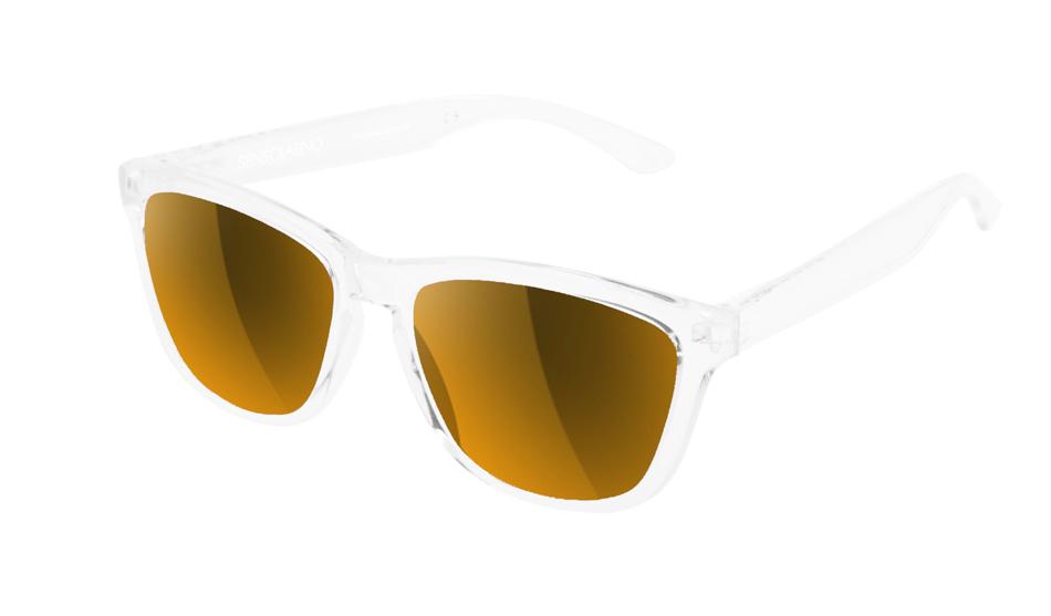 SLI12_Sensolatino Sunglasses Serie Italia Transparent WITH LUXURY GOLD IRRORED POLARIZED LENSES