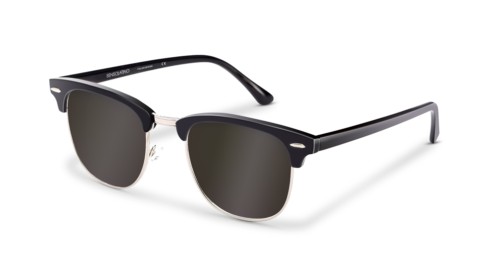 SLR01_Sensolatino Sunglasses Serie Italia Transparent WITH BLACK MIRRORED POLARIZED LENSES L