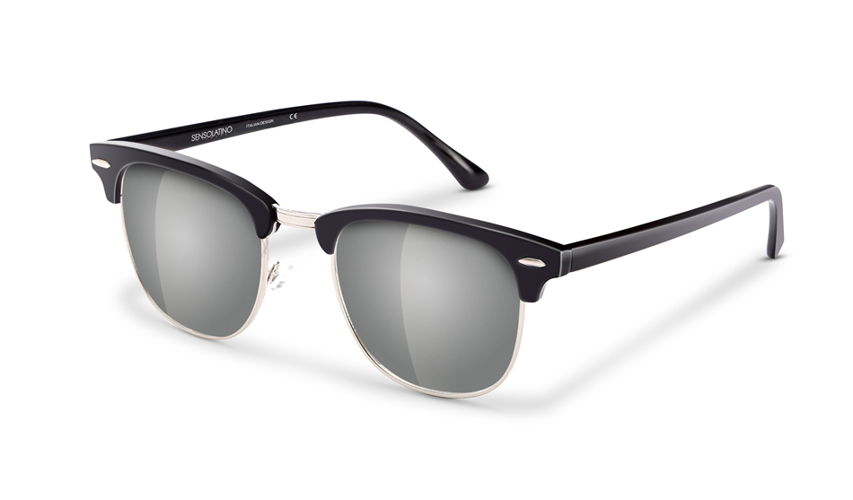 SLR02_Sensolatino Sunglasses Serie Italia Transparent WITH SILVER MIRRORED POLARIZED LENSES L