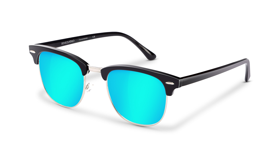 SLR04_Sensolatino Sunglasses Serie Italia Transparent WITH ICE BLUE MIRRORED POLARIZED LENSES L