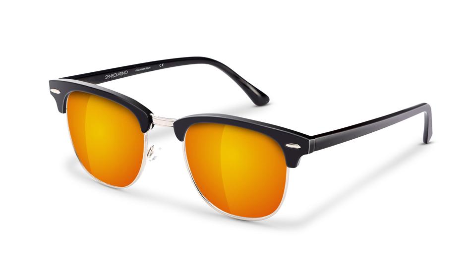 SLR05_Sensolatino Sunglasses Serie Italia Transparent WITH ORANGE MIRRORED POLARIZED LENSES L