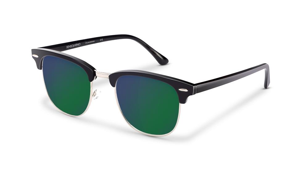 SLR08_Sensolatino Sunglasses Serie Italia Transparent WITH GREEN BLUE MIRRORED POLARIZED LENSES L