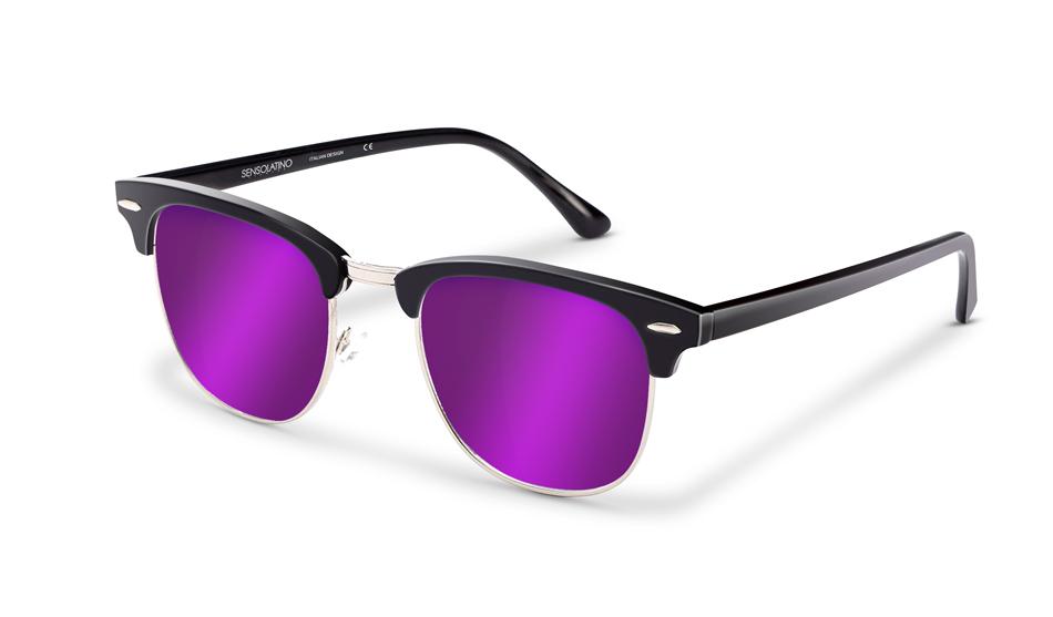 SLR11_Sensolatino Sunglasses Serie Italia Transparent WITH VIOLETTE MIRRORED POLARIZED LENSES L