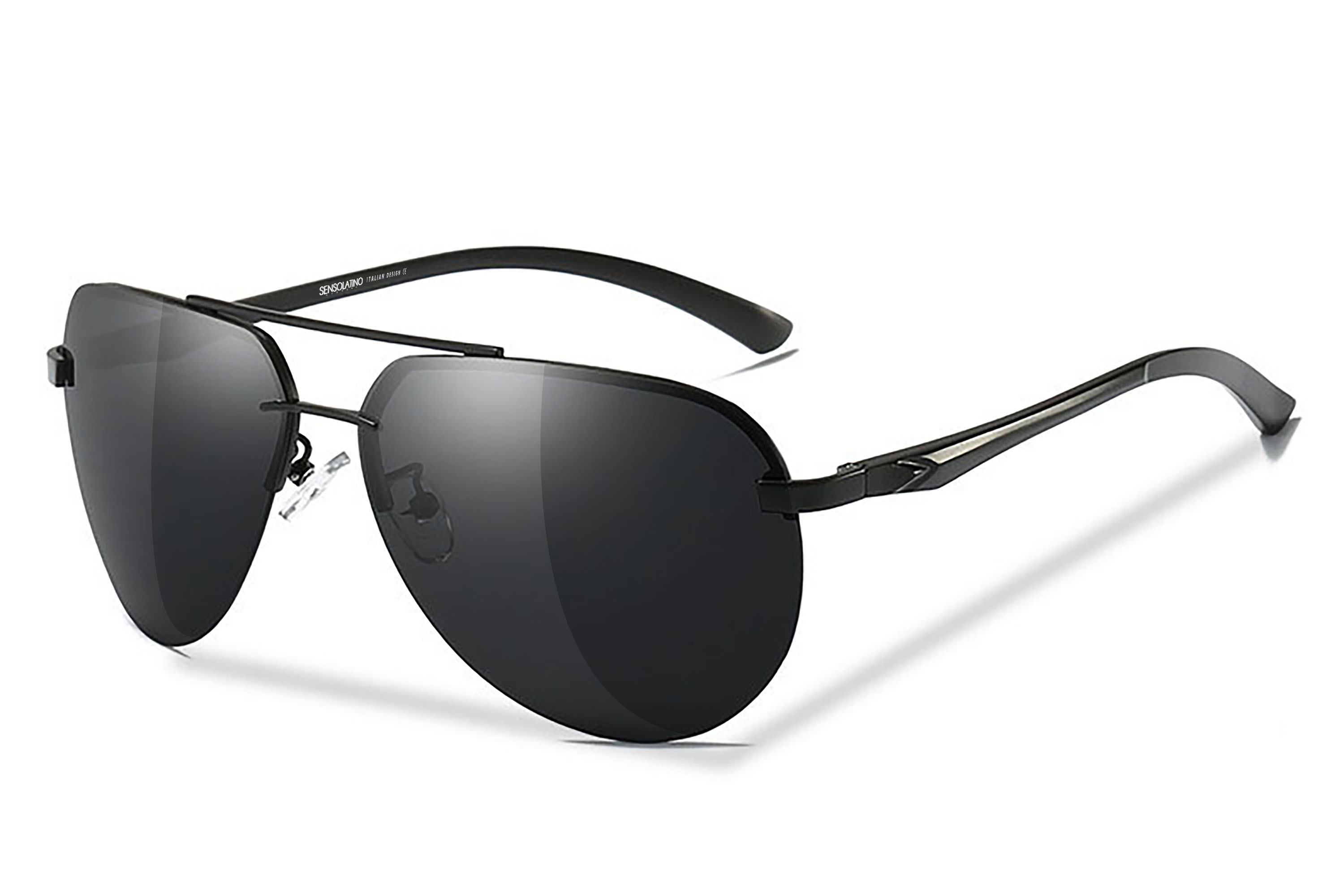 44db28db79 SLMED-01 0754495689010 SENSOLATINO SERIES MEDINA BLACK FRAME WITH BLACK  POLARIZED LENSES L